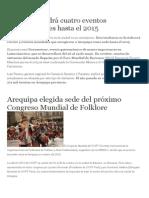 Arequipa Tendrá Cuatro Eventos Internacionales Hasta El 2015