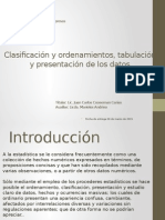 Clasificación y Ordenamientos, Tabulación y Presentación de Los Datos