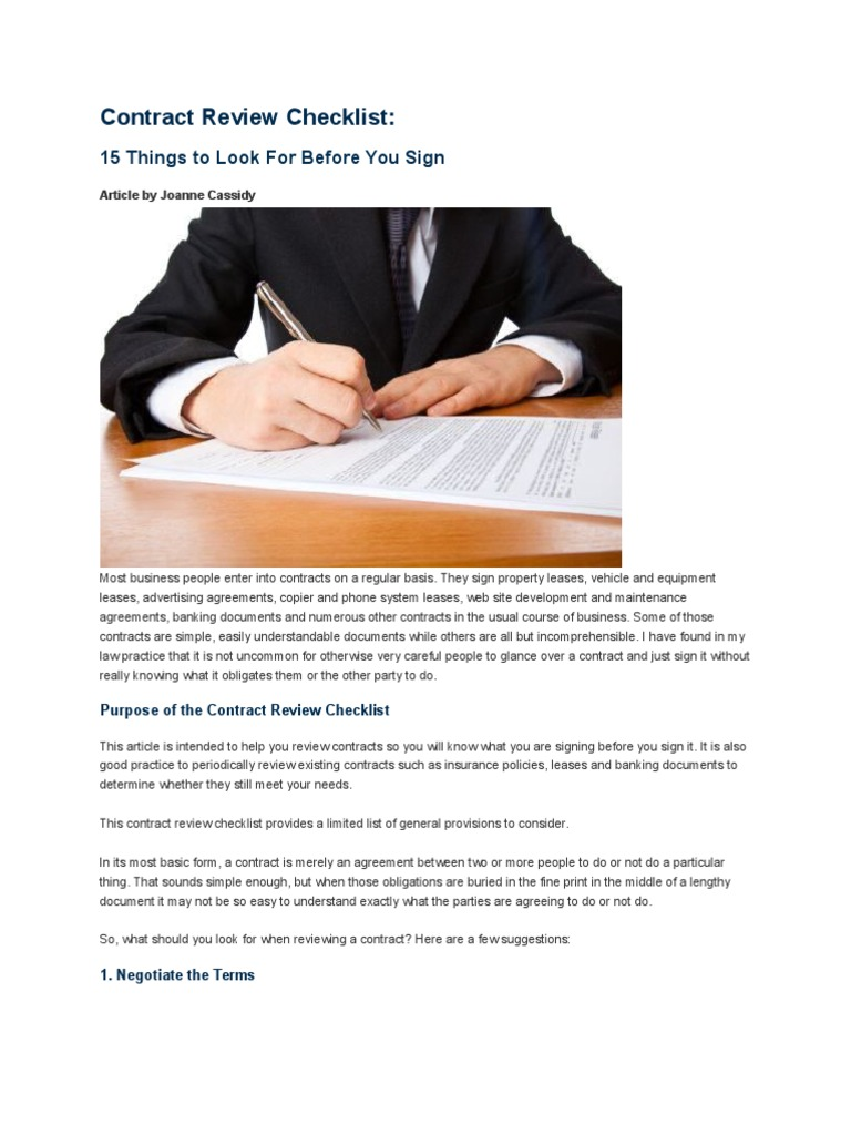 contract review checklist indemnity lease