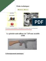Le Pistolet Mitrailleur de 7,65 Mm Modèle 1938