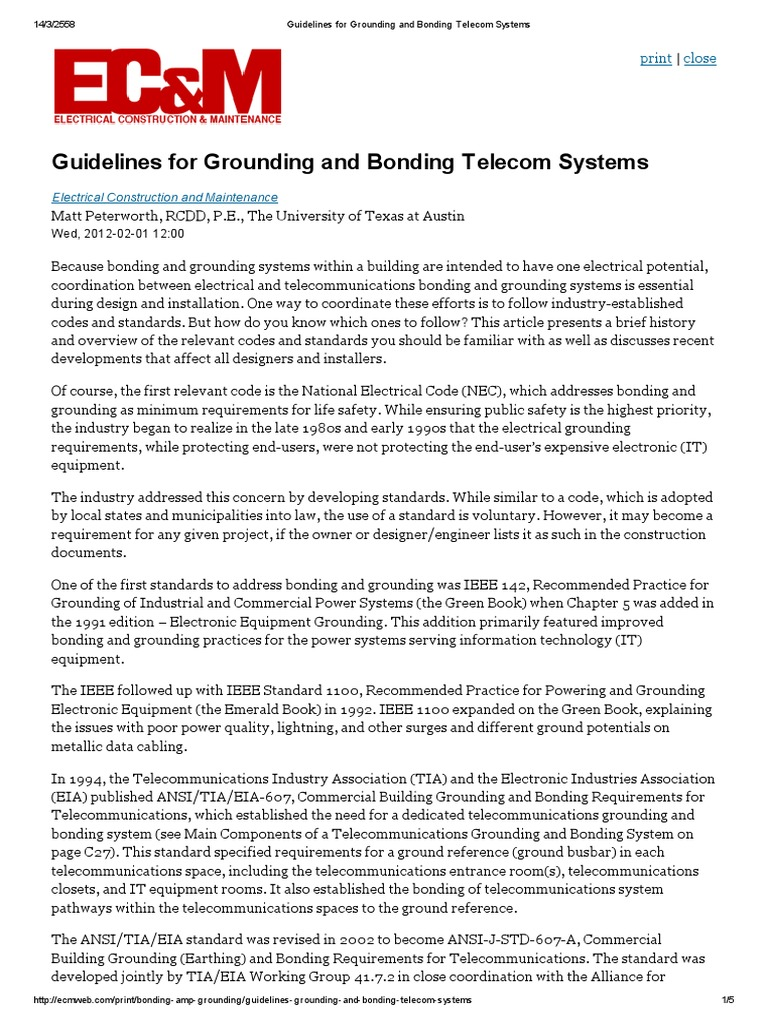 Guidelines for Grounding and Bonding Telecom Systems | Electrical ...