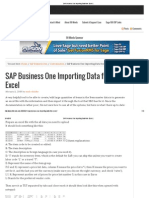 SAP Business One Importing Data From Excel