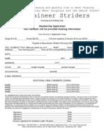 Mountaineer Striders Membership Application