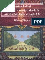 FUBINI, Enrico. La Estetica Musical Desde La Antigüedad Hasta El Siglo XX