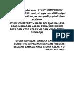 Analisis Perbandingan Hasil Pembelajaran Bahasa Arab Maharah Kalam Pada Kurikulum 2013 Dan Ktsp Di Mtsn Sidoarjo Dan Mts