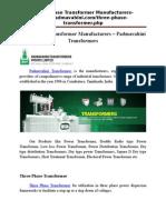 Three Phase Transformer Manufacturers
