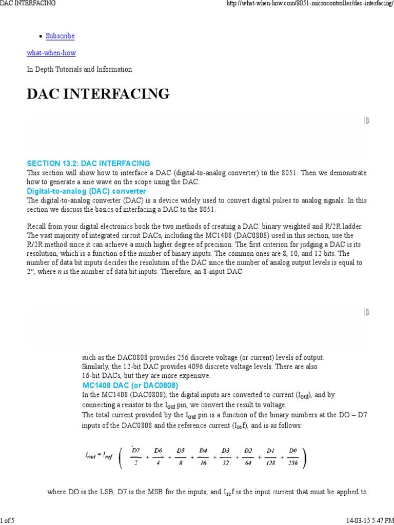 Dac Interfacing Digital To Analog Converter Analogue Electronics Adc 8051 Electronic Circuits And Diagram