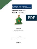 Ratio Analysis Bank AL Habib Ltd.