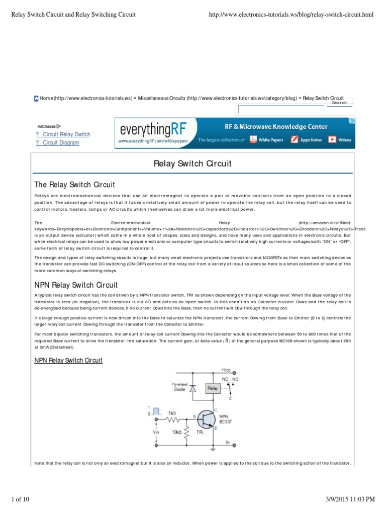 Relay Switch Circuit and Relay Switching Circuit Mosfet Field