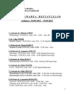 Programarea Restantelor Septembrie 2012 Fmf Oradea