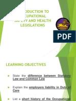 Introduction to OSH Legislation