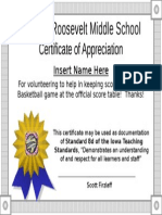 certificate of appreciation scorekeeping