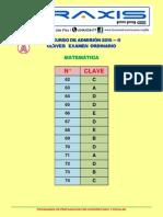 Claves Area a Ordinario 2015 - II Matemática