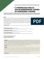 Epistemologia e Metodologia Para as Pesquisas Críticas Em Administração Leituras Apro Ximadas de Horkheimer e Adorno