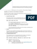 Vendor Evaaluation Procedure in QM