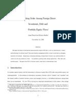 Razin, Sadka - A Pecking Order Among FDI, Debt and Portfolio Equity Flows