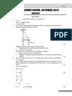 October 2013 Answer Physics