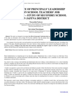 THE INFLENCE OF PRINCIPALS LEADERSHIP STYLES ON SCHOOL TEACHERS' JOB SATISFACTION – STUDY OF SECONDRY SCHOOL IN JAFFNA DISTRICT