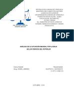 Análisis de La Situación Mundial Por La Baja en El Precio Petróleo- Oct 2014