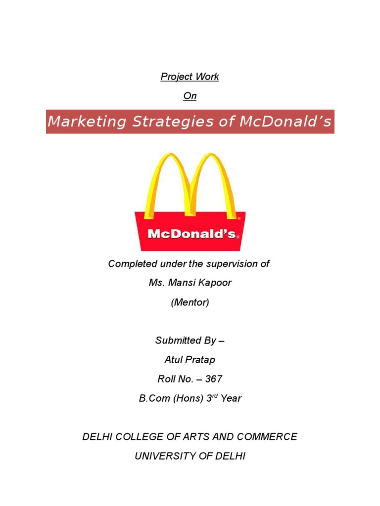 project report on mcdonalds marketing