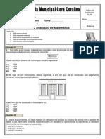 Avaliação de Matematica 1 bimestre