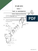 IIT Paper 1 Mathematics 2012