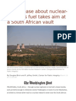 U.S. unease about nuclear-weapons fuel takes aim at a South African vault.odt