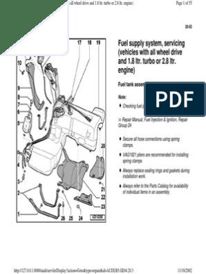 AUDI A4 B5 - Quattro Fuel System Servicing 1.8T & 2.8 | Four ... B Audi A Hazard Switch Wiring Diagram on