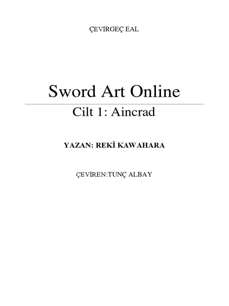 Sword Art Online Cilt 1 Aincrad Türkçe