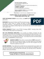15th March 2015 Parish Bulletin