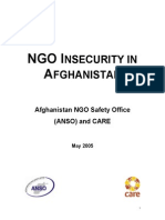 ANSO and CARE NGO Insecurity in Afghanistan 5-2005