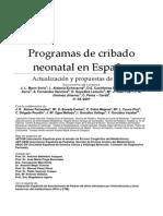 Programas de Cribado Neonatal en España. Actualización y Propuestas de Futuro (2009)