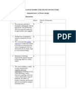 Peer Evaluation Rubric for Online Instructors