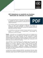 GM Colmotores Se Convierte en El Primer Fabricante de Vehículos en Colombia