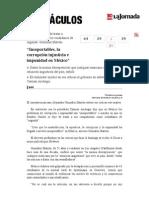 La Jornada- Insoportables, La Corrupción Injusticia e Impunidad en México