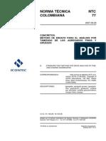 NTC 77 Método de ensayo para el análisis por tamizado de los agregados finos y gruesos.pdf