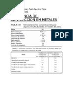 Tolerancia de Contraccion en Los Metales
