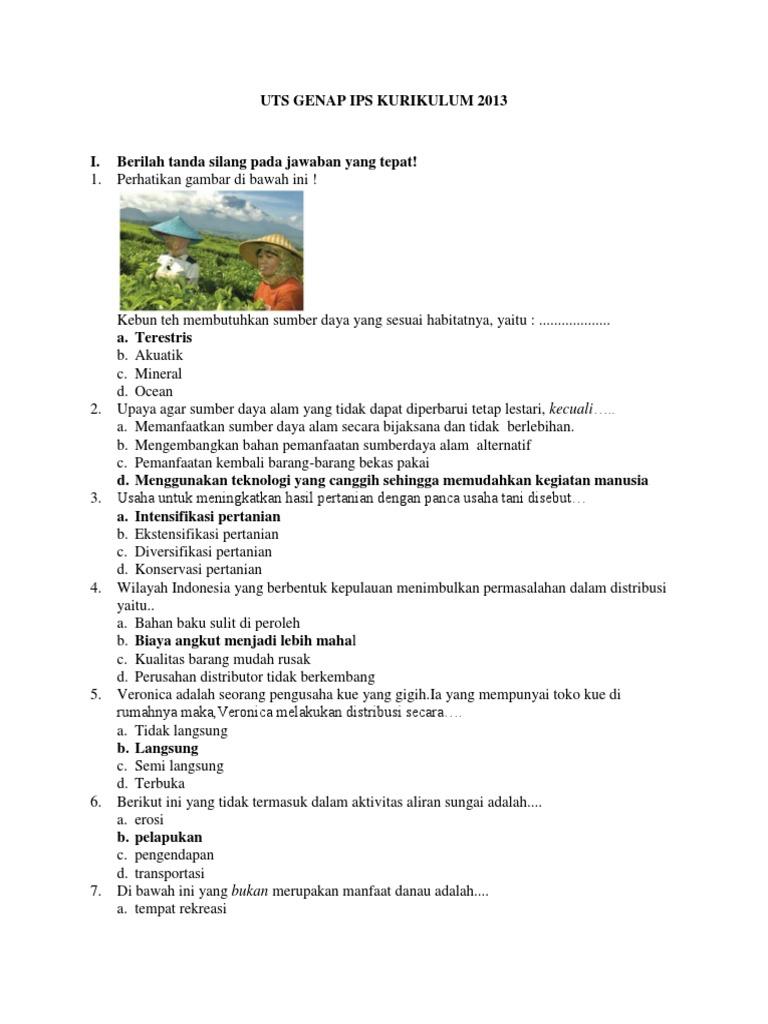 Soal Uts Genap Ips Kelas 7 Smp Kurikulum 2013
