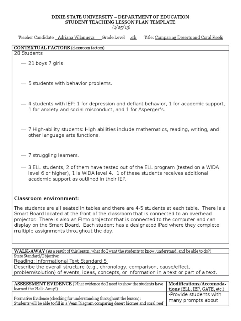 Coral Reef Lesson Educational Assessment Lesson Plan - Wida lesson plan template