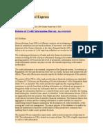 Reform of Credit Information Bureau an Overview