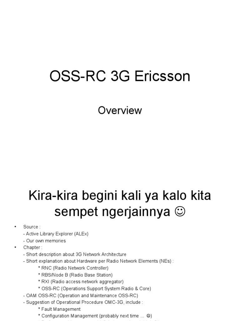 OSS-RC 3G Ericsson | Telecommunications Engineering | Mobile