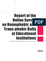 Report of the Online Survey on Homophobic and Transphobic Bullying