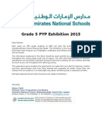 parent letter grade 5 pyp exhibition 2015