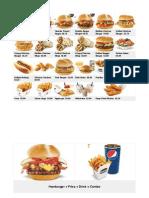 harvey's hamburger menu