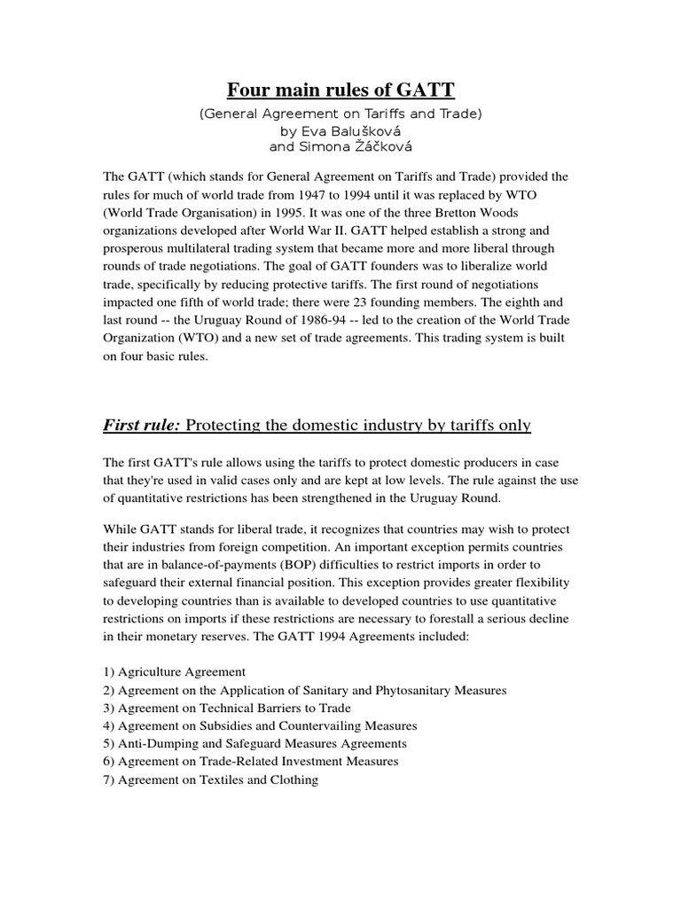 Four Main Rules Of Gatt 1 General Agreement On Tariffs And Trade