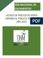Listado de Precios de Venta Maximo Al Publico Por Chm 2015