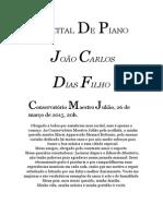Programa Recital - João Carlos Dias Filho - 26 Março