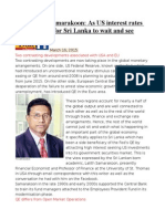 Prof. Lalith Samarakoon as US Interest Rates Rise, No Space for Sri Lanka to Wait and See