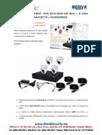 SHIELD SECURITY - MERIVA MVA849KIT- DVR MVA-845-08  8CH + 4 CAM DOMO 650TVL MVA301K + ACCESORIOS