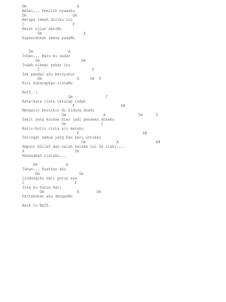 Lirik Lagu Muhasabah Cinta